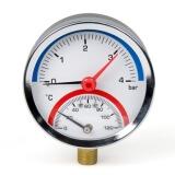 Манометр с термометром вертикальный XF90344 (до 4 атм, 120 гр.) 1/4 дюйма