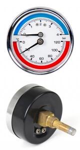 Манометр с термометром горизонтальный ST XF90346 (до 4 атм, 120 гр.) 1/4 дюйма